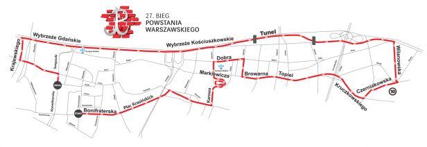 Trasa biegu na 10 kilometrów mat.prasowe