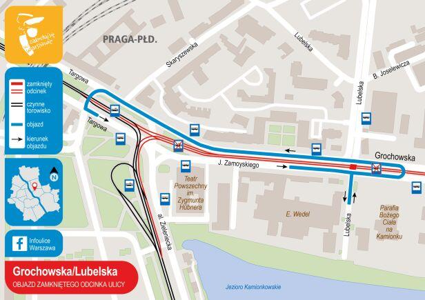 Ulica Grochowska - Lubelska - objazd zamkniętego przejazdu UM