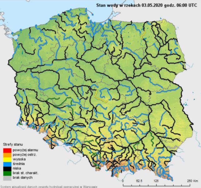Stan wody w rzekach: 3 maja, godzina 6 (IMGW)
