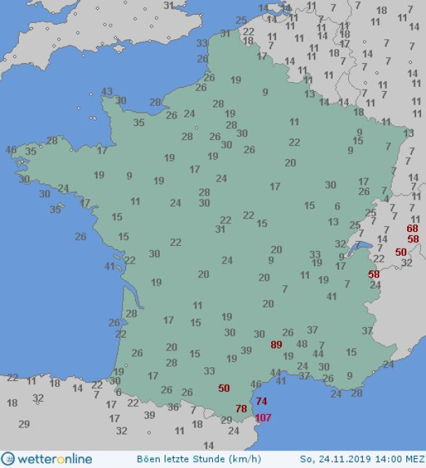 Prędkość porywów wiatru we Francji o godzinie 14.30 (wetteronline.de)