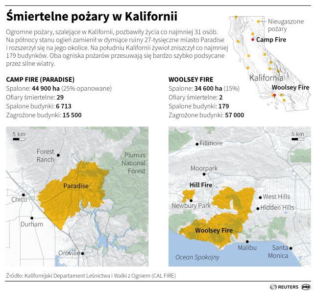 Śmiertelne pożary w Kalifornii (PAP/Małgorzata Latos)