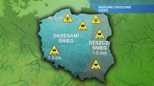Warunki drogowe w poniedziałek 25.01